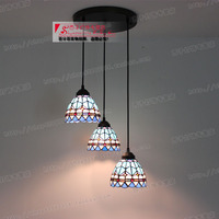 Mediterranean lighting  color glass  lamp shade  3 color glass  dining room  study  personality  Tiffany  European style