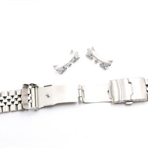 Image 4 - Rolamy 22 มิลลิเมตรนาฬิกาสายคล้องคอสแตนเลสสตีล VINTAGE Jubilee สร้อยข้อมือคู่ Push Clasp Hollow Curved End Solid Screw Links