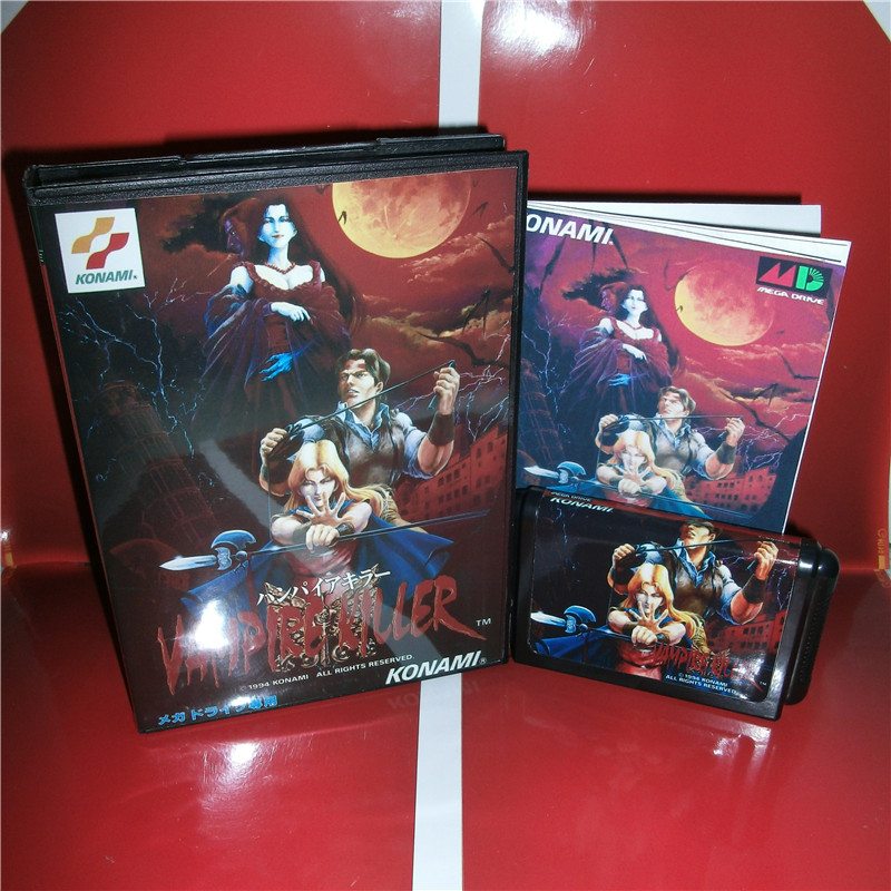 MD games card - Vampire Killer Japan Cover with Box and Manual for MD MegaDrive Genesis Video Game Console 16 bit MD card