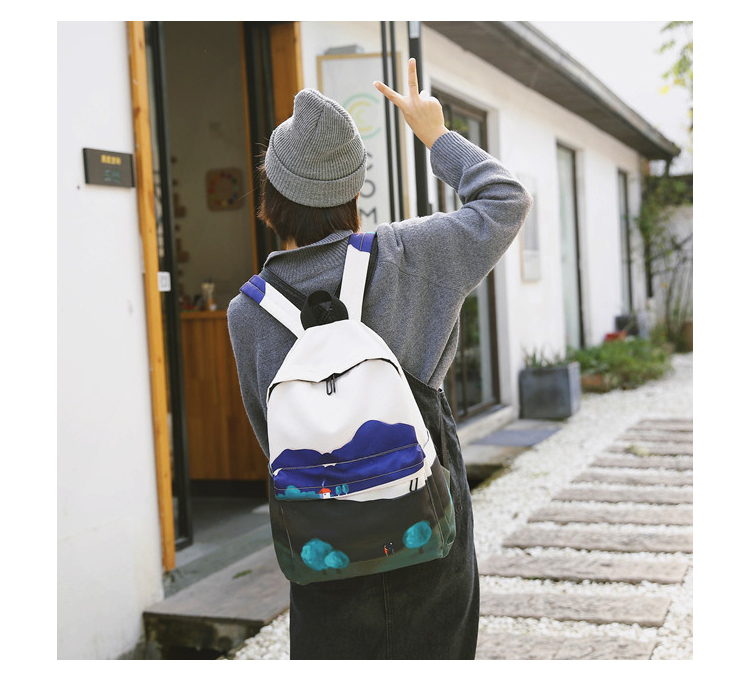 Menghuo Fresh Canvas Backpack Women Landscape School Bags for Teenagers Girls New Backpack Travel Bag Rucksack Mochilas Knapsack_17