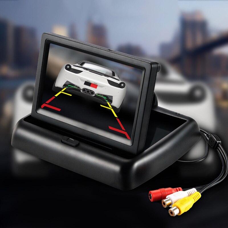 Новые 4.3 inch видео плеер автомобиля HD Складная Автомобильные Мониторы TFT ЖК-дисплей Дисплей заднего вида Мониторы Экран цифровой Панель Цвет автомобиля заднего вида