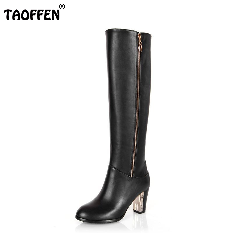 TAOFFEN Free shipping over knee natrual real genuine leather high heel boots women snow winter warm shoes R4642 EUR size 31-43 free shipping over knee natrual genuine leather high heel boots women snow winter warm boot shoes coolcept r1538 eur size 30 45