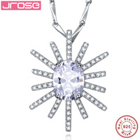 Jrose The god of the sun Jewelry Gift White AAA CZ 100% Solid 925 Sterling Silver Pendant for Women Gift With a Chain