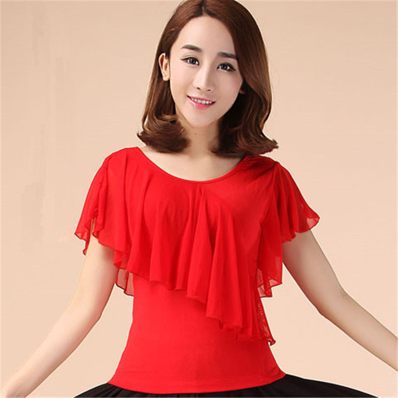 Green Red Black Latin Ballroom Top For Women Practice Ballroom Tops Adults Round Neck Latin Top For Women