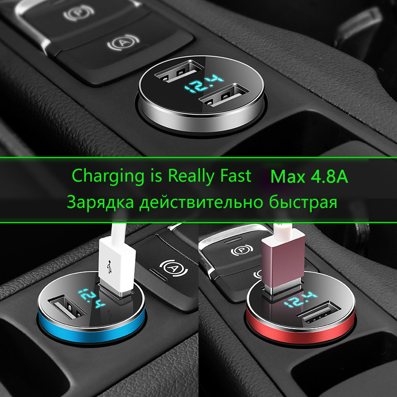 Smart USB Car Charger Phone Fast Charger Max 4.8A LED Car Adapter DUAL Ports Alloy Mobile Charger For Xiaomi iphone x lenovo z5