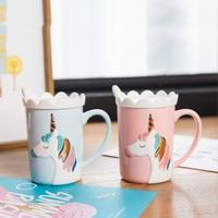 Creative Lovely Unicorn Crown Mug Lid Scoop Embossed Ceramic Cup Pink Girl Coffee Milk Cup Office Household Cute Funny Mugs Gift