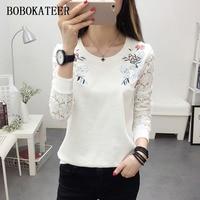 BOBOKATEER Embroidery T Shirt Women Tshirt Lace Tops Long Sleeve T Shirt Women Funny T Shirts