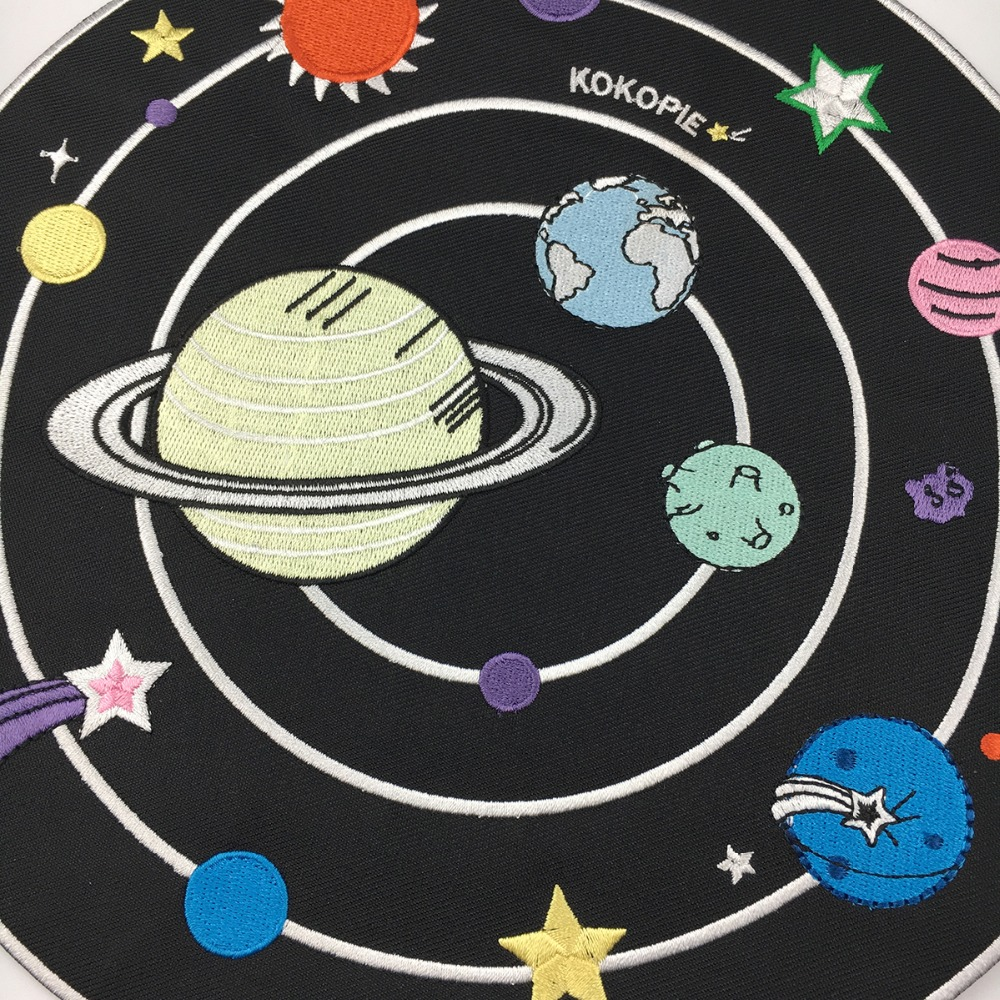 Full back size Space planet biker patch embroidery iron on cartoon patches for clothing jacket motorcycle accessories in Patches from Home Garden