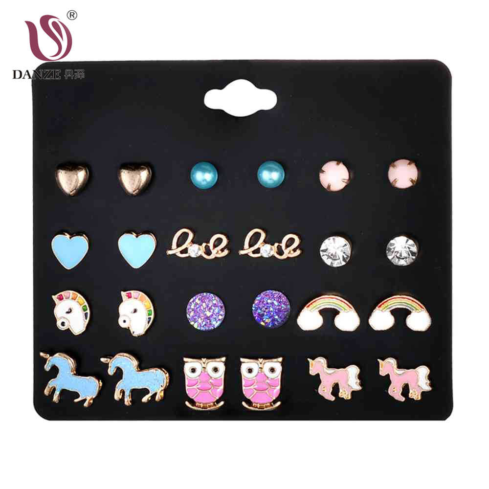 DANZE 12 Pairs/Lot Rainbow Unicorn Crystals Shape Stud Earrings Sets for Women Girls Party Daily Love Kid Earring Jewelry