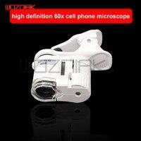 Wozniak lupa 60x photo band lâmpada ajustável mini portátil microscópio do telefone celular