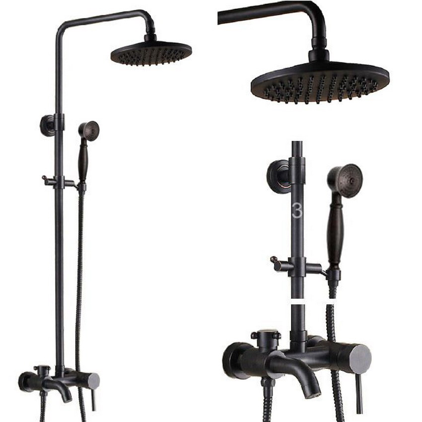 Brass Black Oil Rubbed Bronze Bathroom Rainfall Bathtub Shower Mixer Tap Faucet Single Handle Wall Mounted ars341