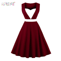 Women Vintage Dress 50s Elegant Heart Shaped Cotton Retro Dress Solid Sleeveless A Line Party Club