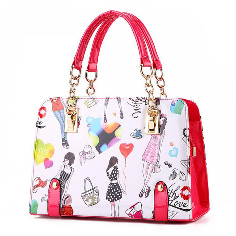 NEW 2018 Women Hand Bags Summer Cartoon print Ladies Clutch high quality women Bag fashion Graffiti