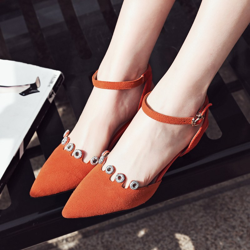 Fashion Brand Shoes High Heels Ankle Strap Pointed Toe Party Genuine Leather Stiletto Women Pumps Wedding Crystal Summer Shoe 33 wholesale lttl new spring summer high heels shoes stiletto heel flock pointed toe sandals fashion ankle straps women party shoes