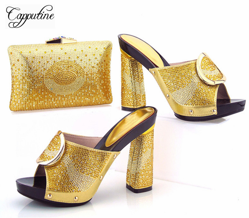 где купить Capputine New African Style Shoes And Bag Set Summer Fashion Women High Heels Shoes And Bags Set For Party Free Shipping дешево