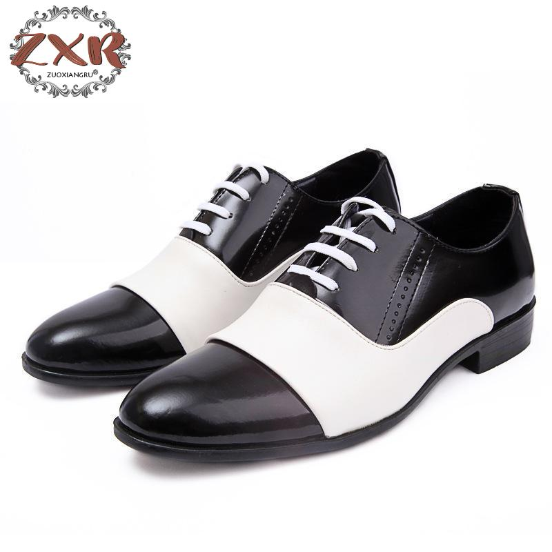 New Spring Autumn Fashion Men Shoes Patent Leather Men Dress Shoes White Black Male Soft Leather Wedding Party Oxford Shoes hot sale new oxford shoes for men fashion men leather shoes spring autumn men casual flat patent leather men shoes size 46