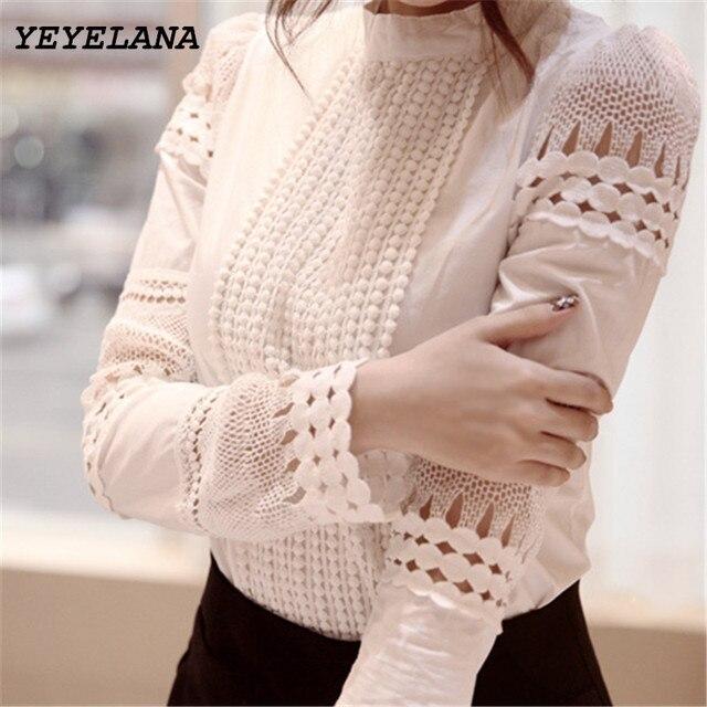 3baf16db2d42e YEYELANA Femmes Blouses 2018 Printemps Été Chemise À Manches Longues Femmes  Blanc Dentelle Blouse Camisas Femininas