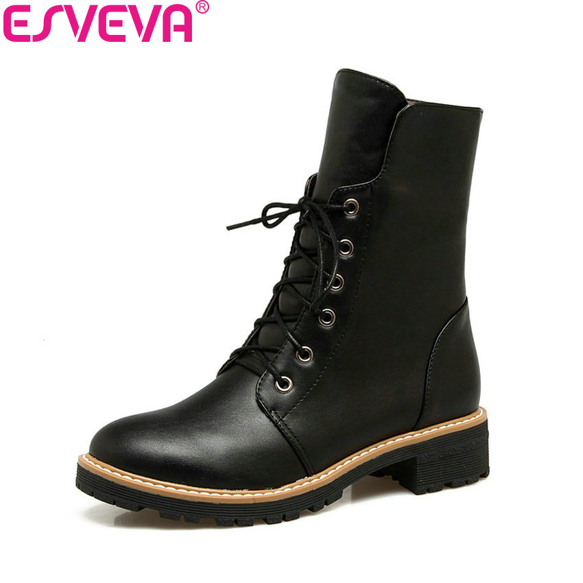 ESVEVA 2018 Women Boots Western Style Square Med Heel Short Plush Ankle Boots Autumn Spring Round Toe Ladies Boots Size 34-43 nikove 2018 women boots western style ankle boots square high heels pointed toe short plush pu blue ladies boots size 34 42