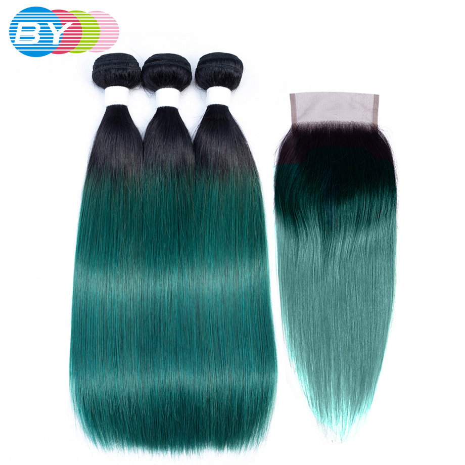 BY Straight Hair Bundles With Closure Brazilian Hair Weave Bundles With Closure Ombre Bundles With Closure