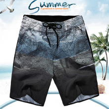 Summer Hot Sale Fashion Map Print Beach Shorts Quick Dry Shorts Men Youth Casual Slim Boxers Bottoms Male Large Size Short Pants
