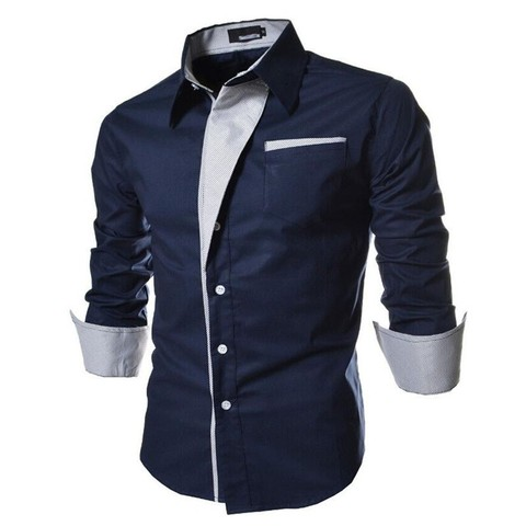 2017 new brand long sleeve shirts social male 5 colors slim fit  striped shirts plus size 3xl mens dress shirts Lahore