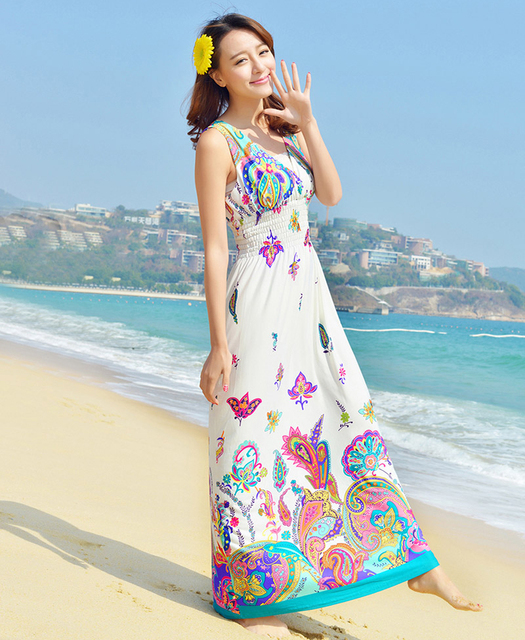 7837af045e6 Jurken Zomer Dames Women Summer Long Maxi Dress Floral Beach Dress  Sleeveless Sexy V Neck Open