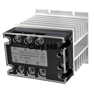 DC-AC 25A 5-32VDC/ 380VAC Three Phase SSR Solid State Relay w Aluminum Heat Sink