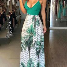 Women Summer Beach Boho Maxi dress Ladies Sleeveless Bohemia Spaghetti Strap V-Neck Long Dress Bodycon Split Print Beach Dress
