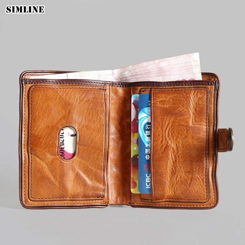 Luxury Brand Design Handmade Vegetable Tanned Genuine Leather Men Wallet Male Vintage Cowhide Short Wallets Purse Card Holder brand handmade genuine vegetable tanned leather cowhide men wowen long wallet wallets purse card holder clutch bag coin pocket page 4