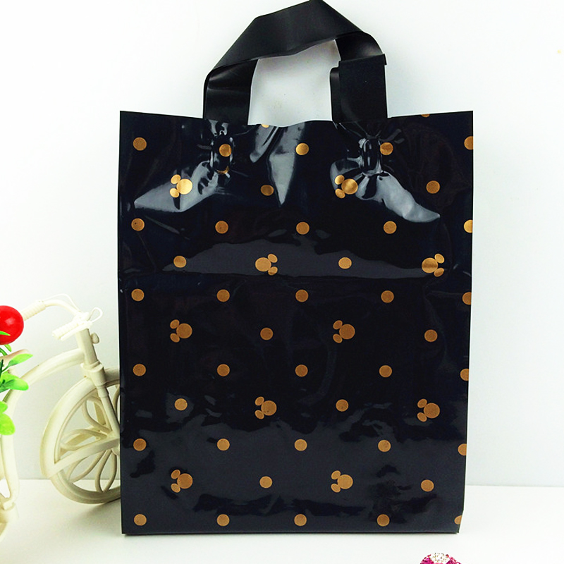 Handle Gift Plastic Packaging 50pcs/lot 25x35cm Red/Black Dot Print Plastic Gift Bag Tick Shopping Bags For Cothes Packaging
