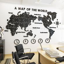 World Map Wall Painting Self-adhesive Living Room Arrangement Company Office Background Decoration 3D Stereo Creation