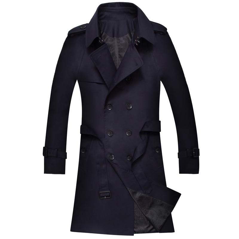 Весна осень мужской простой Тренч мужская одежда модное повседневное пальто с поясом мужской двубортный длинный Тренч - 4