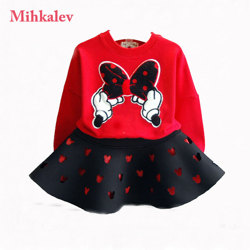 2017 autumn long sleeve kids tracksuit for girls clothes sets cartoon t shirt and skirts 2pcs children clothing set girl outfits женские блузки и рубашки fashion blouse 2015 v batwing