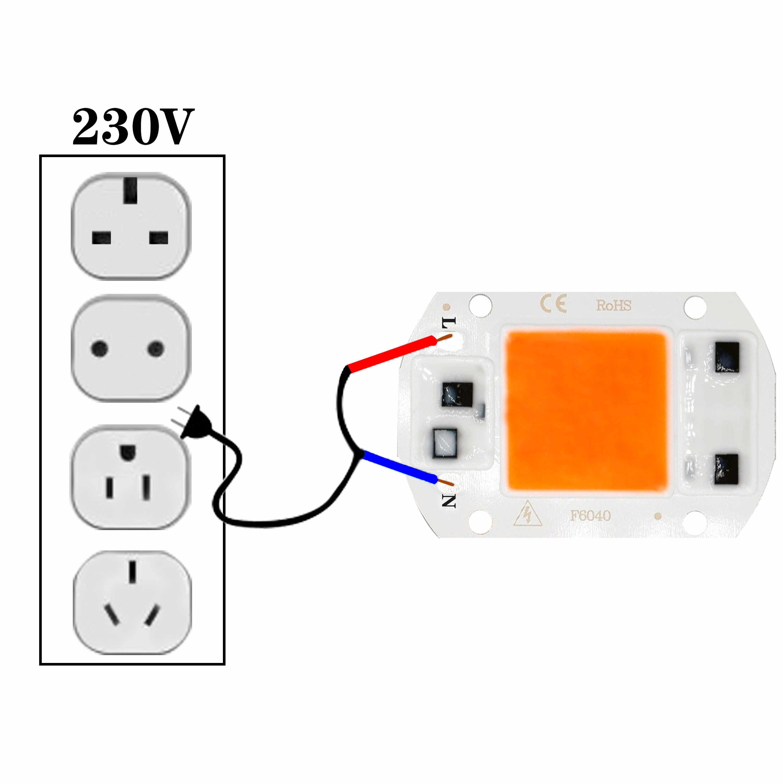 LED COB hytolamp chip AC230V 5W 10W 20W 30W 50W AC110 Cultivo de luz de la planta espectro completo para crecer caja de tienda de interior iluminación acuática