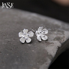JINSE 925 Sterling Silver 8mm Flower Stud Earrings For Women High Quality Girl Gift Prevent Allergy Sterling-Silver-Jewelry