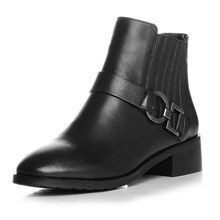 Belt Buckle Design Black Cowhide Round Toe Side Zippers Medium Thick Heels Ankle Boots European Style Beautiful Booties Shoes