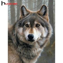 Huacan 5D Diamond Painting Full Square Wolf Embroidery Rhinestones Pictures Mosaic Animal Home Decor