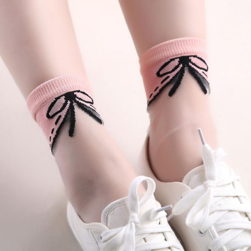 Classical Women Ultrathin Transparent Collar Crystal Elastic Short Socks New Fashion Popular Style Beautiful Elastic Womens Sock ...
