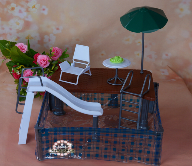 Diy Dollhouse Schwimmbad Plastic Puppe Mobel Set Zubehor Fur Barbie