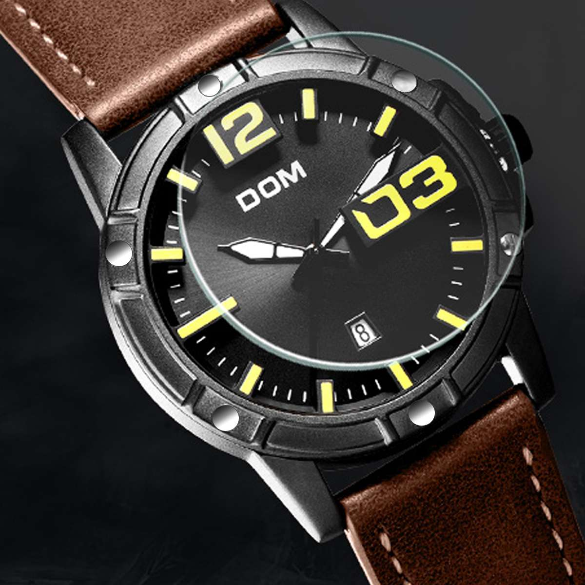 DOM Watch Men Luxury Sport Quartz wristwatch clock Mens Watches Leather Business Waterproof watch Men Gifts M-1218BL-1M5