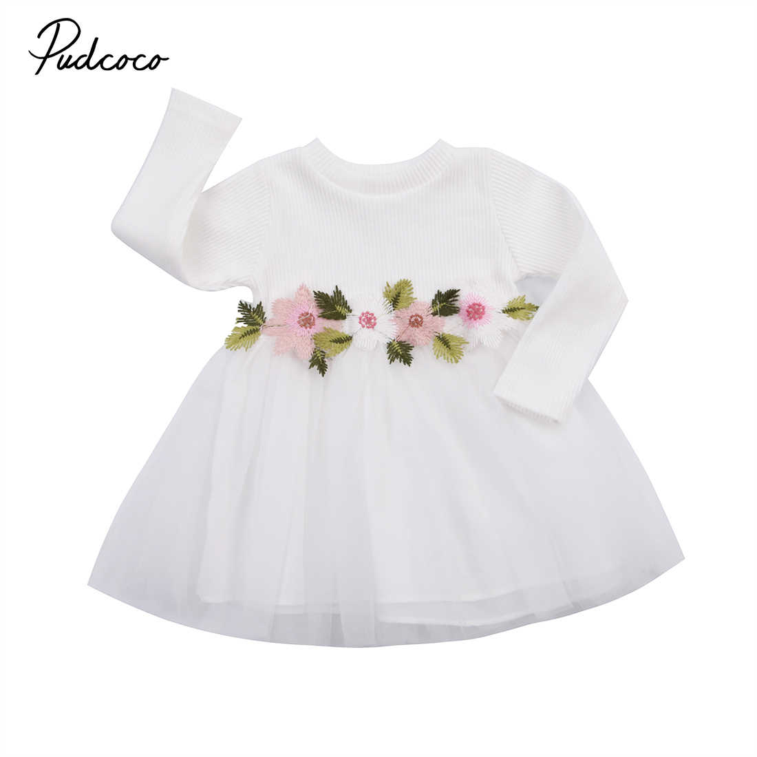1db4c8cffb20 Fashion Toddler Baby Girls Flower Knit Dress Wedding Princess Prom Tulle  Tutu Dresses Fall Long Sleeve