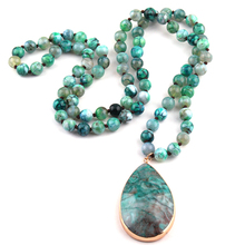 Free Shipping Fashion Semi Precious Stones Agat long Knotted Natural Stone Pendant Necklaces For Women Ethnic Necklace