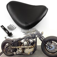 1pc Black Motorcycle Cushion Synthetic Leather Orange Style Solo Seat Shock Absorption Fits for Harley Chopper Bobber Sportster