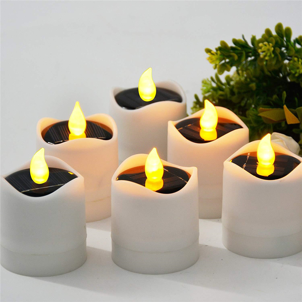 12PC Solar Flickering candle lamp Waterproof Home decoration outdoor atmosphere lighting Warmth gift for Party Holiday