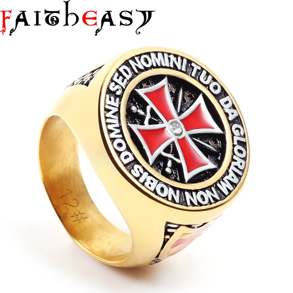 Faitheasy Antique Stainless Steel Gold Knights Templar Men Cross Ring
