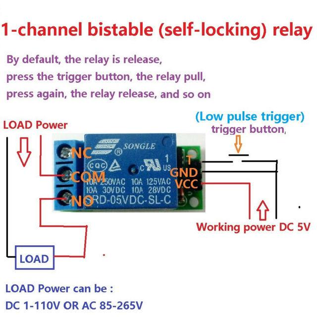 Mini 5 V Flip-Flop Latch Relais Modul Bistabile Selbst-verriegelung Schalter Niedrigen puls trigger Board für Arduino smart home LED Motor