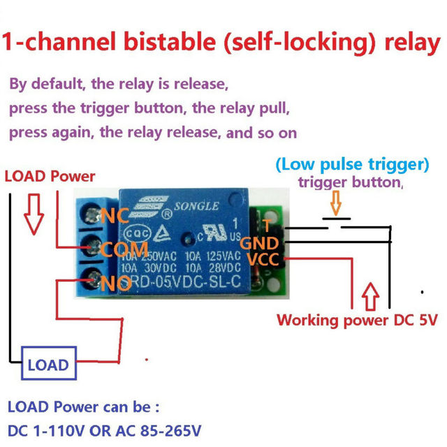 Mini 5 V Flip-Flop Latch Relaismodul Bistabil selbsthemmend Schalter Niedrigen impuls trigger Board für Arduino LED-Smart home Motor