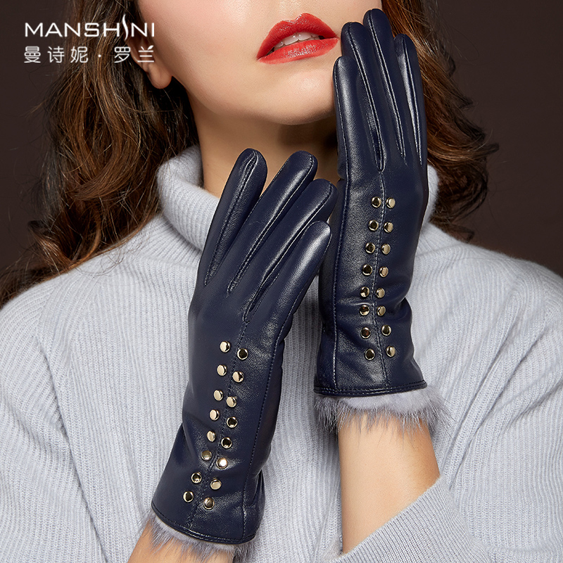 2018 New Women Genuine Sheepskin Leather Gloves Fashion Female Autumn Winter Warm Gloves Touch Screen Mittens Driving Gloves