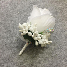 ivory corsage for groom groomsman silk artificial flower wedding bridal shower bachelorette party suit boutonnieres pin
