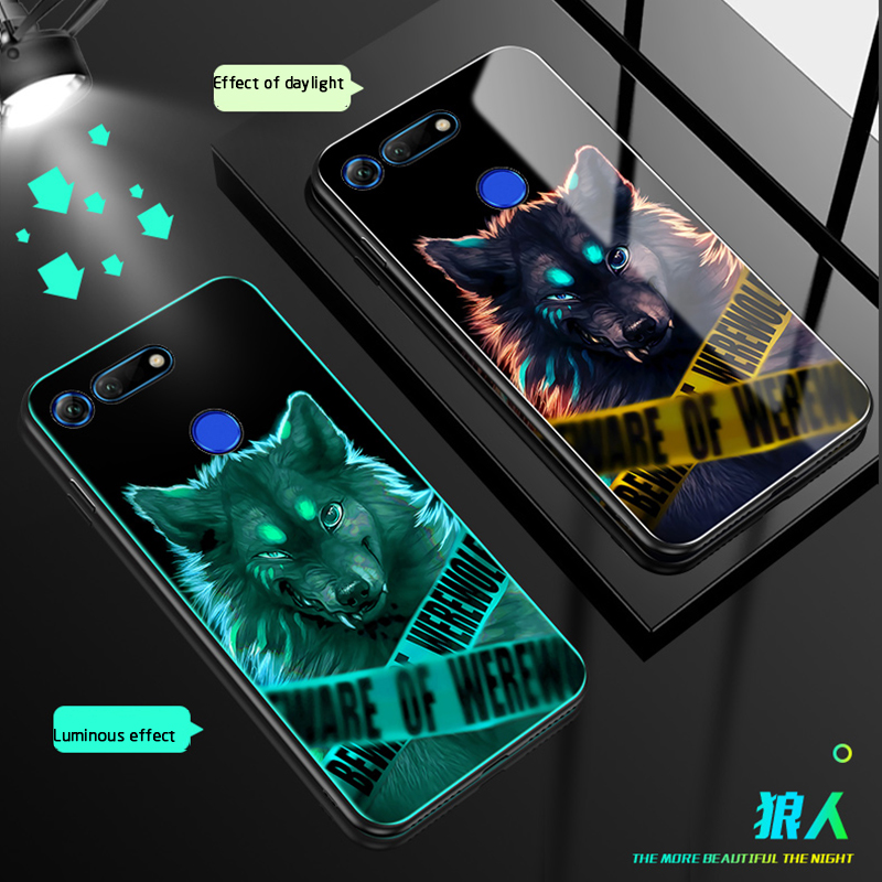 Luminous Glass Case For huawei Honor V20 10 Lite 8 Nova Back Cover Huawei 4 2 PLUS Cases